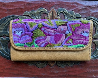 Bird and Flowers Wallet Mermaid's Pearl Pure Gold Leather