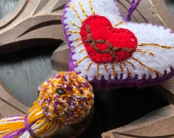 Royal Purple Sacred Heart Love Hand Embroidered Heart Pom and Tassel Bag Pom