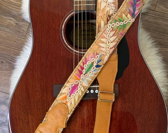 Plumage Adjustable Butterscotch Leather Guitar Strap