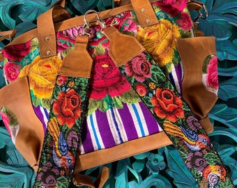 Beaded Birds and Tattoo Roses Backpack Straps with Natural Tan Leather