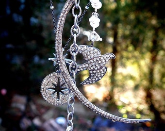 Peaceful Moon Diamond Pave Necklace with Pearls and Hematite Fringe and Diamond Pave Stars