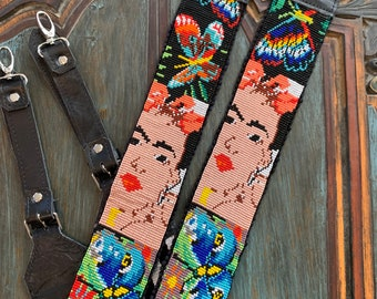 Beaded Butterfly Frida Kahlo Inspired Backpack Straps with Black Leather