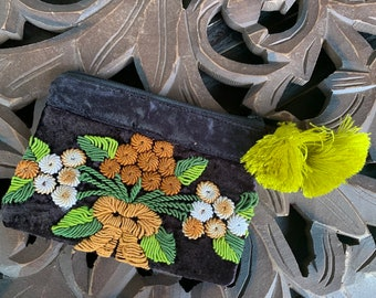 Heirloom Embroidery Full Size Cosmetic Bag or Clutch
