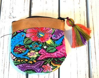 Fish GoTo Leather and Huipil Coin Purse