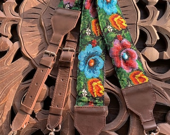 Beaded Flowers Backpack Straps with Dark Brown Leather