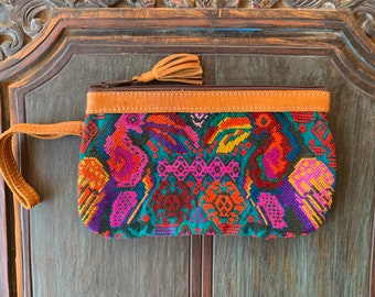 Teal Toucans Huipil Wristlet with Tan Leather