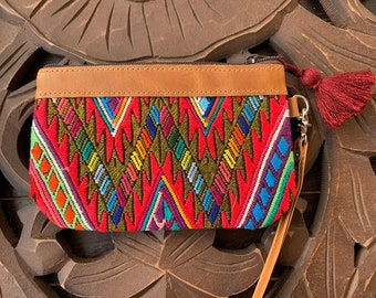 Mini Festival Clutch Feathered Serpent Coral Mountains with Tan Leather and Wristlet Strap