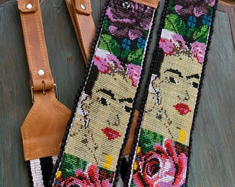 Beaded Pink Rose Garden Frida Kahlo Inspired Backpack Straps with Natural Tan Leather