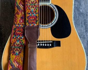 Wanderlust Adjustable Dark Brown Leather Guitar Strap