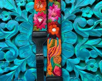 Adjustable Bandita Camera or Bag Strap with Black Leather