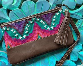 Festival Clutch Emerald Green Rainbow Moons and Star with Brown Leather and Wristlet Strap
