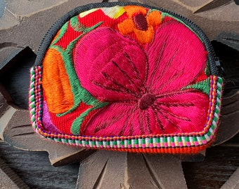 Mini Half Moon Zunil Embroidered Huipil Padded Coin Purse or Earbud Storage