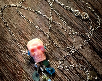 Sterling Silver Hand Carved Pink Skull Memento Mori with Aqua Gemstone Tears Necklace