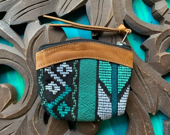 Xela Emerald GoTo Leather and Huipil Coin Purse