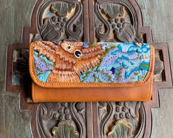 Sparkle Mystic Owl Floral Huipil Marbled Tan Leather Wallet