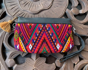 Convertible Medium Festival Clutch Mountain Range with Black Leather and Wristlet and Crossbody Strap