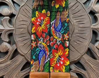 Beaded Flora and Fauna Camera or Bag Nomad Strap with Natural Tan Leather