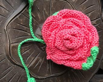 Large Coral Flamenco Crochet Rose Bag Corsage
