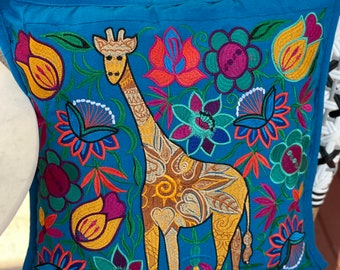 """Single 18"""" Embroidered Teal Giraffe Decorative Pillow Cover"""