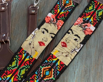 Beaded Iron Lattice Frida Kahlo Inspired Backpack Straps with Dark Brown Leather