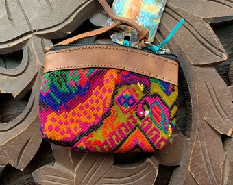 Peacock GoTo Leather and Huipil Coin Purse