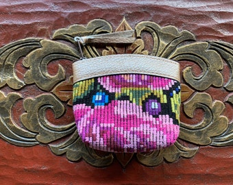 Small Pink Rose Mermaid's Pearl Pale Gold Leather Coin Purse