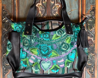 Caribbean Rose Medium Convertible Day Bag with Black Leather and Heart Pockets