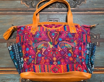 Magenta Double Ostrich Huipil with Natural Tan Leather Large Convertible Day Bag