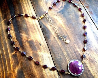 True Heart Necklace Pave Surrounded Sapphire with Garnet Vermeil Chain