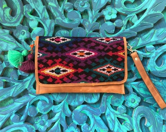 Funky Flemenco Clutch Natural Tan Leather Crossover Clutch with Shoulder Strap