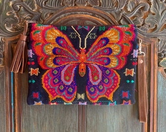 Navy Butterfly 3-in-1 Festival Bag with Brown Leather and Wristlet Strap and Crossbody Strap