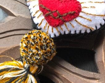 Black Sacred Heart Love Hand Embroidered Heart Pom and Tassel Bag Pom