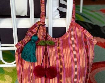 Medium Desert Rose Black Cherries Adventure Companion Beach Bag