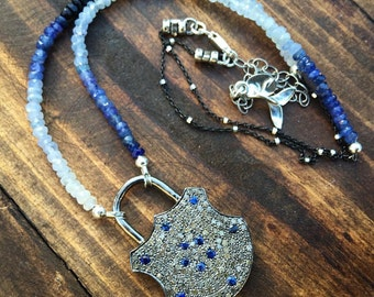 Pirate's Treasure Chest Diamond and Sapphire Pavé Lock in Sterling Silver with Ombré Sapphire Beaded Necklace