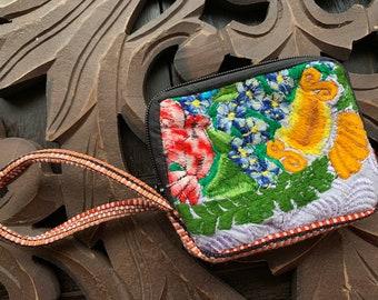 Vegan Vintage Zunil Huipil Wristlet Wallet