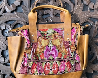 Love Birds, Roses and Tulips Chichicastenango Huipil Natural Tan Leather CDB bag with leather shoulder strap and backpack straps