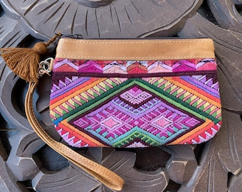 Mini Festival Clutch Sunset on the Mountains with Tan Leather and Wristlet Strap