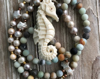 Hand Carved Seahorse and Pearl Talisman Necklace