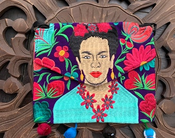 Frida Kahlo Embroidered Crossover Clutch with Shoulder Strap - vegan