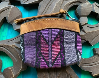 Xela Amethyst GoTo Leather and Huipil Coin Purse