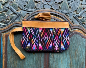 Purple Diamonds Huipil Wristlet with Tan Leather