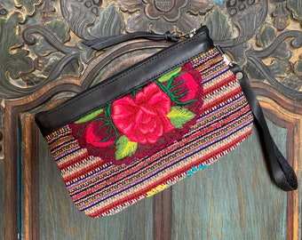Rose Garland Clutch with Black Leather and Wristlet Strap