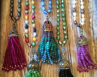 Nomad's Soul Beaded Semiprecious Large Stone Tassels on Continuous EXTRA Long Pearl Necklaces- Pick your Color