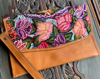 Naples Garden Embroidered Huipil Natural Tan Leather Crossover Clutch with Shoulder Strap