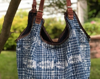 Indigo Blue Cloud Bag in 4 Different Denim Chambray Foot Loom Options ams Chocolate and Brown Leather