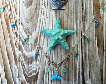 Opal Mermaid's Tail and Sea Spray Briolette Sterling Silver Necklace