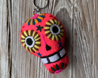 Day of the Dead Hand Embroidered Skull Keychain