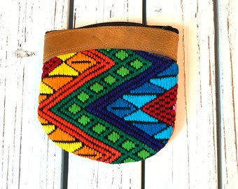 Rainbow Chevron GoTo Leather and Huipil Coin Purse