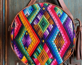 Rainbow Ombre DIamonds O Bag in Brown Leather