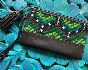 Festival Clutch Emerald Green Ombre Moons and Star with Black Leather and Wristlet Strap